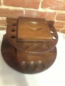 Vintage-Fairfax-9-Pipe-Holder-Tobacco-Humidor-Bowl-Stand-Walnut