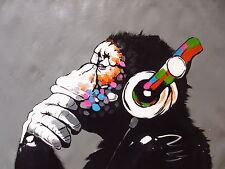 A0 SIZE CANVAS Banksy Street Art Print DJ MONKEY chimp PAINTING HUGE