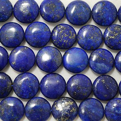 10 Semi Precious Gemstone Natural Lapis Lazuli Disc / Coin Beads 12 mm , 14mm