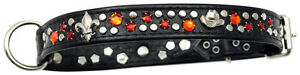 Strass en cuir de collier de collier de chien de mémoire occidentale Swarovski Elements M / H015