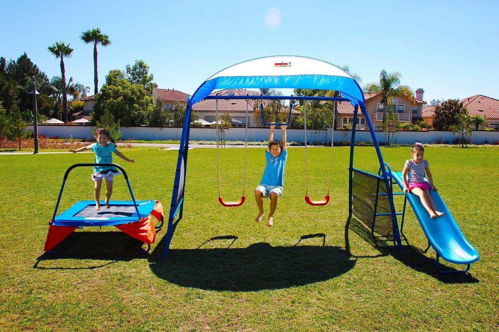 Fitness Playground Metal Swing Set Trampoline Trampoline Trampoline Monkey Bar Slide Shaded Summer New 11a88f