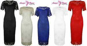 New-Womens-Plus-Size-Lace-Lined-Bodycon-Short-Sleeve-Ladies-Bodycon-Midi-Dress