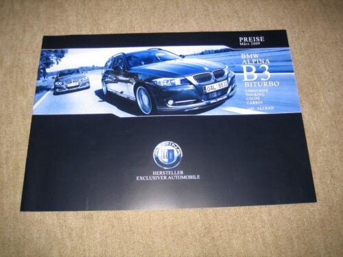 Touring Coupé Cabrio Preisliste price list von 3//2009 BMW Alpina B3 Biturbo Lim