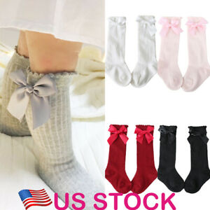 Toddler-Kids-Baby-Girl-Knee-High-Long-Socks-Princess-Bow-Cotton-Casual-Stockings