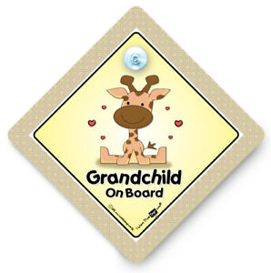 Grandchild On Board Car Sign, Giraffe, Baby On Board Sign, Suction Cup Sign