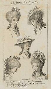 Chodowiecki (1726-1801). coeffures berlinoises, capelli di Berlino-e hutmoden 1