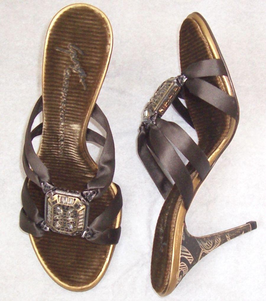 GIUSEPPE ZANOTTI Brown Satin Embellished Sandals Slides shoes 36 or 37.5