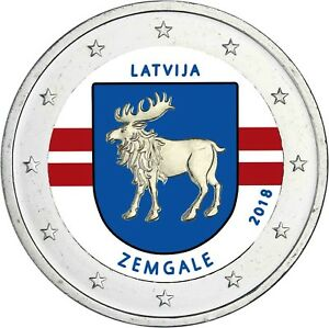 Lettland-2-Euro-2018-Zemgale-Historische-Landschaft-Semgallen-in-Farbe