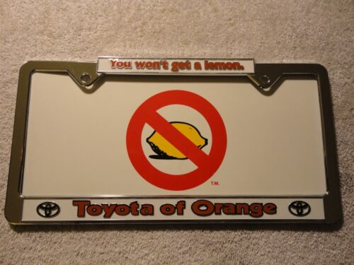 """Plastic New. /""""You Won/'t Get A Lemon/"""" from Toyota of Orange license plate frame"""