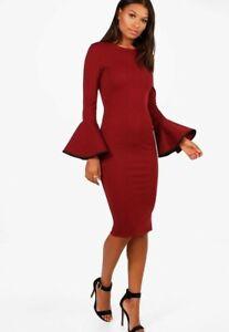 boohoo flare sleeve dress uk 10 women's midi bodycon berry