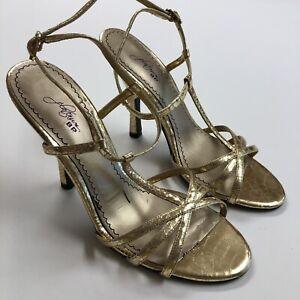 Platinum-BP-Nordstrom-Gold-Strappy-Snakeskin-Print-Heels-Women-039-s-Size-7-5M-Shoes