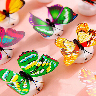 3D Glowing LED Butterfly Wall Night Light Stickers Fridge Mural Home Wall Decor