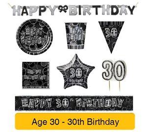 Anos-30-30th-Cumpleanos-Negro-amp-Plata-Glitz-Fiesta-Pancartas