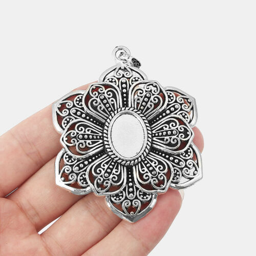 2x Tibetan Silver Filigree Flower Pendant Trays Blanks 18*13mm Oval Cameo Base