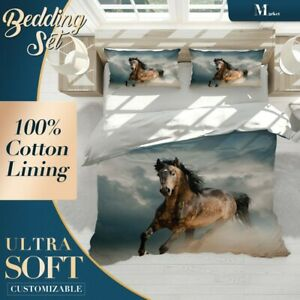 Run Animals Horses Brown Doona Cover Set with Zipper And Pillowcase