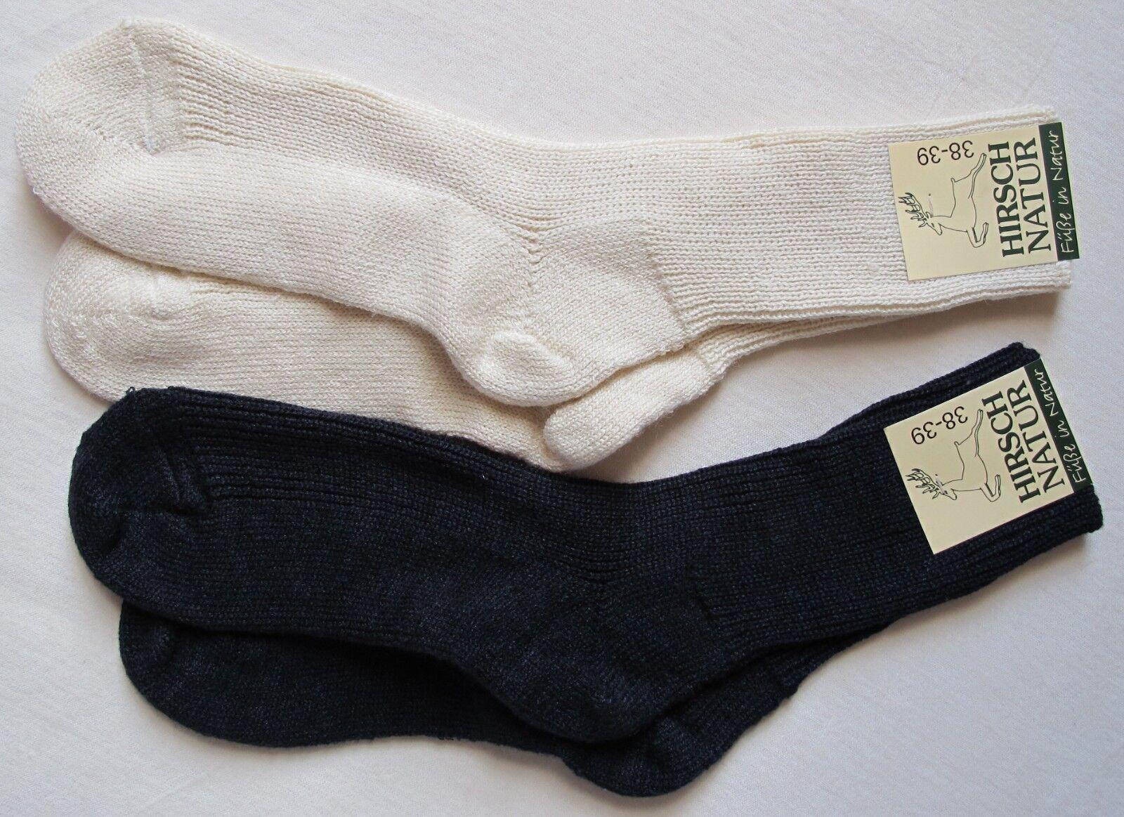 Hirsch Natur Wolle Seide Socken mit Plüschsohle Schurwolle Natursocken wool silk