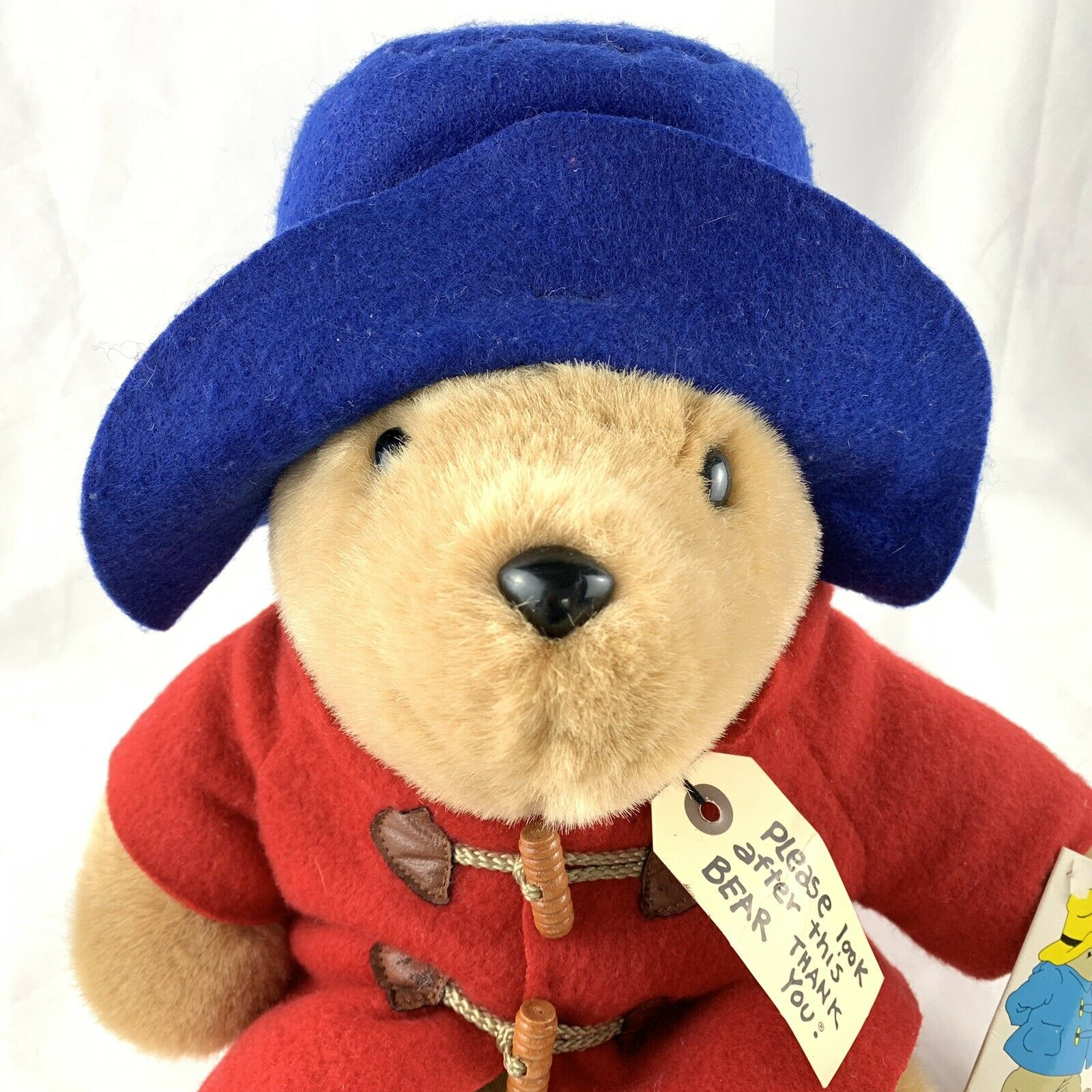 "3/""//8cm Paddington Bear Plush Bear Blue Coat Red Hat with Suitcase Stuffed Toys"