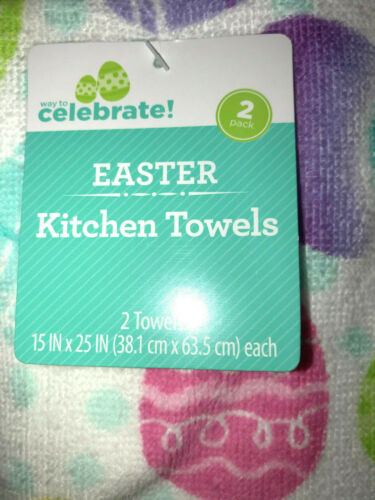 2 pc Plush Bathroom or Kitchen Hand Towels Easter Egg Hunt  Theme 2HT0119
