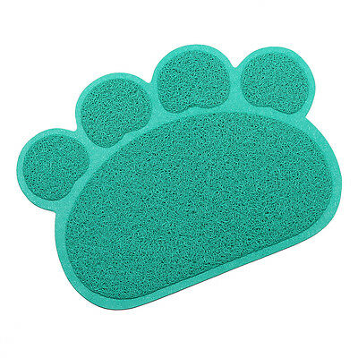 Tera Pet Dog Cat Puppy Dish Bowl Food Water Placemat Mat PVC Paw Shape Blue New