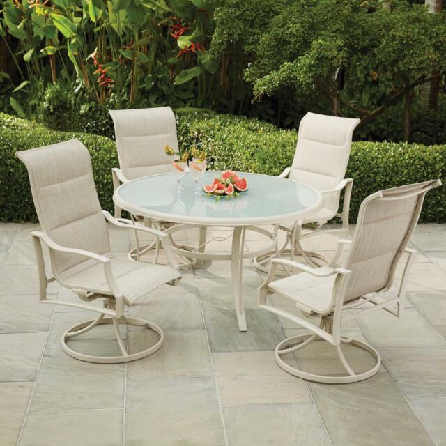 Cool Hampton Bay Patio Dining Set Glass Table Aluminum Shell Outdoor Beige 5 Piece Cjindustries Chair Design For Home Cjindustriesco
