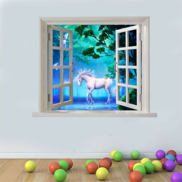 Wall art Graphic UNICORN LAKE FANTASY VIEW FAUX WINDOW Printed Vinyl Sticker