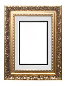 Ornate-Swept-Antique-Baroque-French-Style-Picture-Photo-Frame-With-Double-Mount