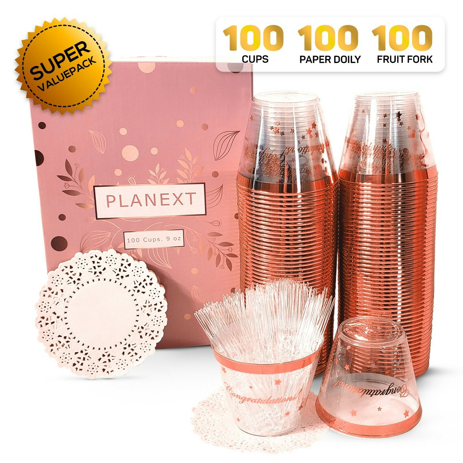 100 Clear Plastic Cups Rose Gold Rim Fancy Rimmed Wedding Party Cups 9 Ounce For Sale Online