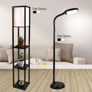 Led Floor Lamp Shelf Adjustable Wood Standing Light