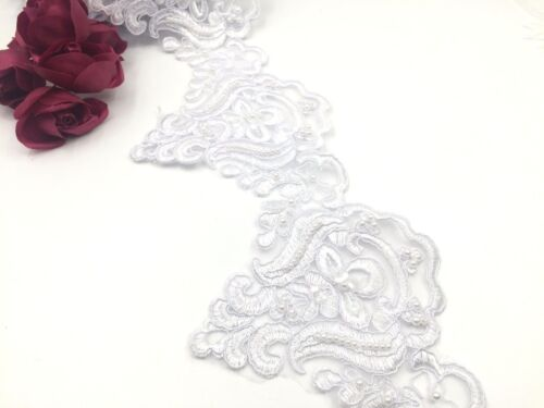 Bridal Lace White Embroidered Pearl Trim Ribbon Wedding dresses Edging
