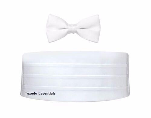 NEW Men/'s White Satin Cummerbund /& Bowtie Tuxedo Tux Formal Groom Set FREE SHIP