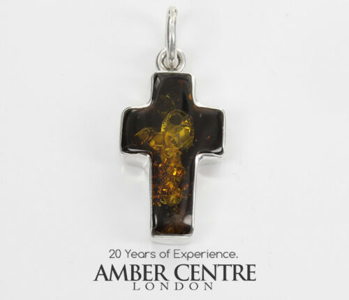 CROSS PENDANT HANDMADE UNIQUE GERMAN BALTIC AMBER IN 925 SILVER PD128G RRP£75!!!