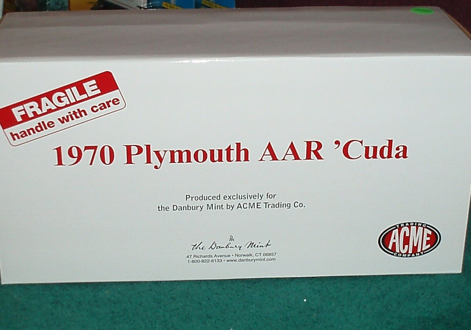 Acme Danbury Mint 1970 Plymouth Aar Barracuda Cuda 1 18 biancao