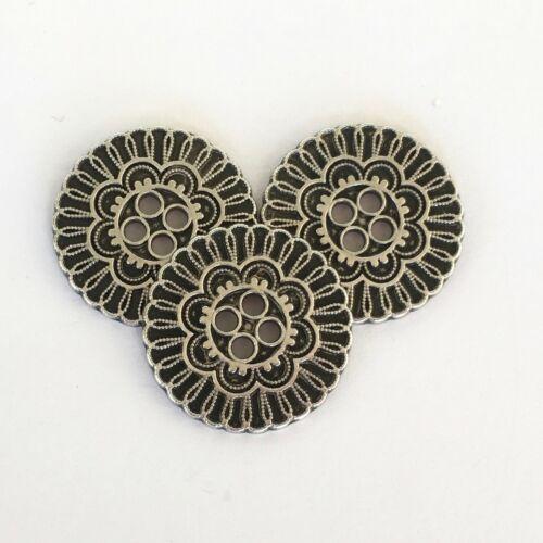 Los botones de filigrana de metal color plata o bronce 15mm 19mm o 23mm por 3 Botones