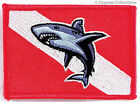 SCUBA DIVING GREAT WHITE SHARK DIVER DOWN EMBROIDERED PATCH IRON-ON RED EMBLEM