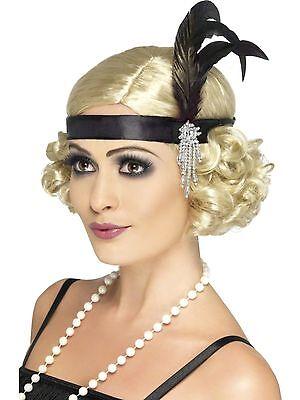 Ladies Black 20s 30s Charleston Feather Headband 1920s Flapper Moll Fancy Dress
