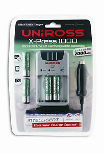 Uniross-X-PRESS-1000-rc103619-Chargeur-Pack-avec-4-x-AA-NiMH-2000-mAh