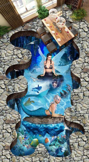 3D Seltene Meerjungfrau 19 Fototapeten Wandbild Fototapete BildTapete Familie DE