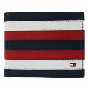 site réputé ef622 92423 Détails sur Tommy Hilfiger Homme Cuir Blanc Rouge Bleu Crédit Carte  Porte-Cartes à Deux
