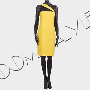 DSQUARED2-995-Off-Shoulder-Dress-In-Yellow-Stretch-Cady-Viscose