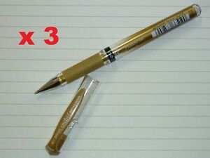3 x uni-ball Signo broad metallic GOLD pen UM153 gel ink acid free uni UM-153