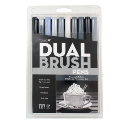 Tombow Dual Brush Pen Set 10 Grayscale
