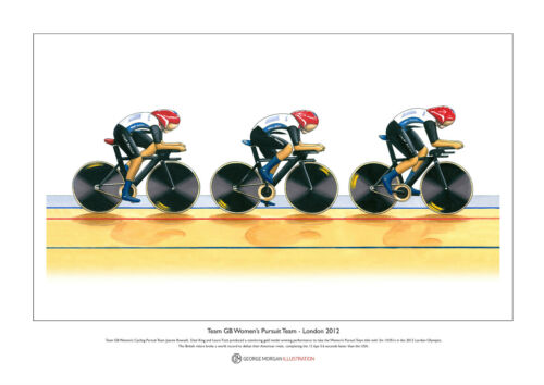 Ltd Edition Fine Art Print A3 size Team GB Women/'s Cycling Pursuit Team 2012