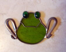 1 FROG ORNAMENT STAIN GLASS VTG ANTIQUE HEAVY GLASS HOLIDAY CHRISTMAS