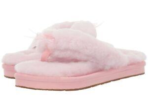 ede20ffdb0c Details about Women's Shoes UGG FLUFF FLIP FLOP III Sheepskin Slippers  1100250 SEASHELL PINK