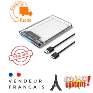 Boitier Disque Dur Externe transparent USB 3.0 2.5 pouces pour SATA HDD et SSD