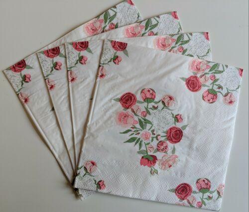 Set of 4 Sophie Allport Peony Floral Lunch Napkins