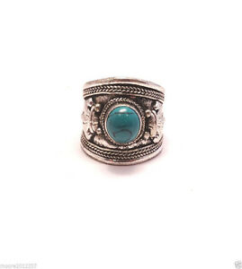 Fashion Cute genuine Tibetan Silver Turquoise Ring
