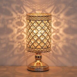HAITRAL Crystal Nightstand Lamp   Gold Bedside Table Lamp With Hanging  Clear For