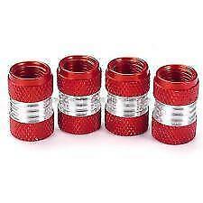 Metallic RED Metal Steel Dust Valve Wheel Tyre Caps (DC5) fits Classic (N)