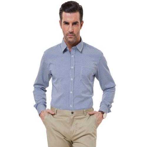 PJ Men/'s Slim Fit Shirt Long Sleeve Plaid Button Down Lapel Casual Office Tops